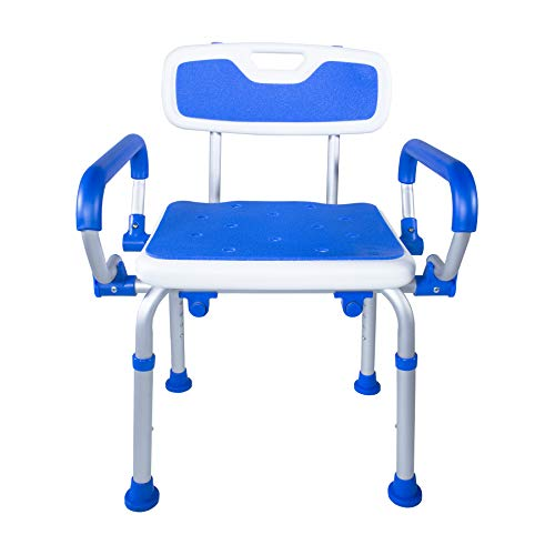 PCP Shower Safety Chair, Bath Bench With Backrest, Swing Arms, Adjustable Height, Medical Senior Support