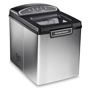 Hamilton Beach Countertop Ice Maker, Compact & Portable Design, Makes 28 Pounds Per Day, Stainless Steel