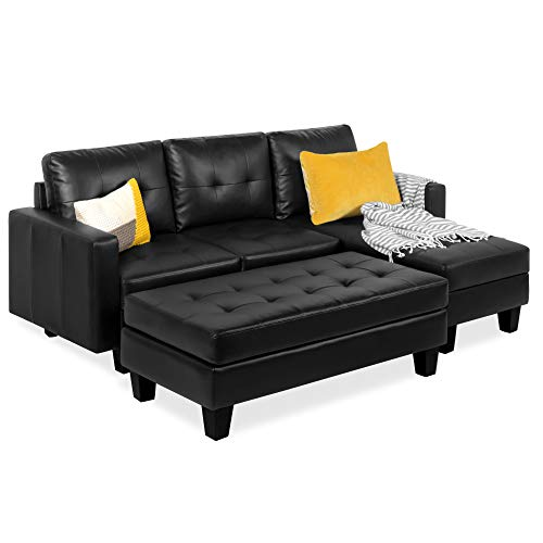 Best Choice Products 3-Seat L-Shape Tufted Faux Leather Sectional Sofa Couch Set w/Chaise Lounge, Ottoman Bench - Black
