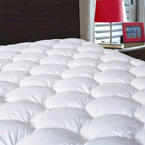 DROVAN Waterproof Mattress Pad Cover King Size - Breathable Soft Fluffy - Pillow Top Cotton Top Down Alternative Filling Cooling Mattress Topper