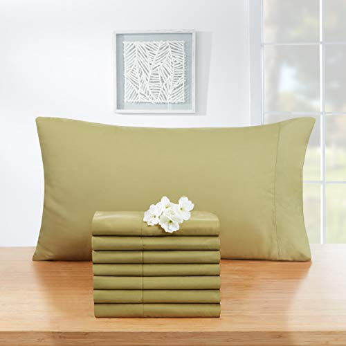 Empyrean Bedding Soft Pillow Cases - Double Brushed Microfiber Hypoallergenic Pillow Covers - Premium Bed Pillow Cases - Luxury Hotel Pillowcases - Standard Size, Set of 8 - Sage