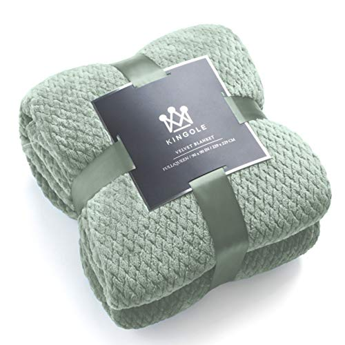 Kingole Flannel Fleece Luxury Throw Blanket, Laurel Green Queen Size Jacquard Weave Pattern Cozy Couch/Bed Super Soft and Warm Plush Microfiber 350GSM (90 x 90 inches)