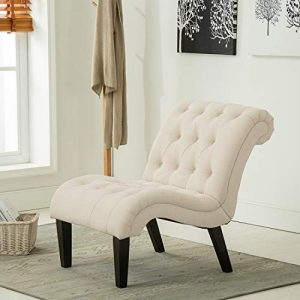 Modern Accent Lounge Chair with Linen upholstered Armless Accent Chair for Living Room, Lvory
