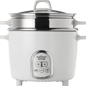 Aroma Housewares NutriWare 14-Cup (Cooked) Digital Rice Cooker and Food Steamer, White