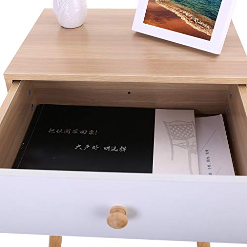 Small Nightstand,Jchen 【Ship from USA】 North American Modern Minimalist Small Nightstand,Jchen 【Ship from USA】 North American Modern Minimalist Bedside Cabinet Storage End Side Table Nightstand with Storage Drawer Solid Wood Legs Living Room Bedroom Furniture (Yellow).
