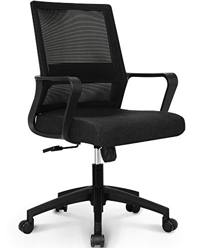 NEO CHAIR Office Chair Computer Desk Chair Gaming Bulk Business Ergonomic Mid Back Cushion Lumbar Support with Wheels Comfortable Black Mesh Racing Seat Adjustable Swivel Rolling Executive