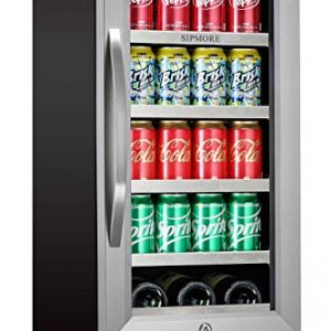 Beverage Refrigerator 15 inch Stainless Steel Shelf 88 Can and 3 Bottle Built-in or Freestanding for Soda Beer, Powerful Drink with Smart Control System and Double-Layer Glass Door