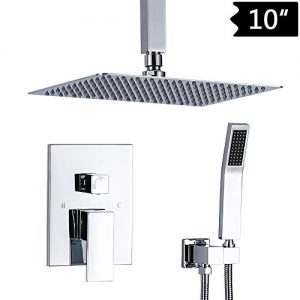 """TNOMS Bathroom Luxury Rain Mixer Shower Combo Set Ceiling Chrome Shower Faucet Set with High Pressure 10"""" Rain Shower Head System Rough-in Valve Body Included,SB010P-A"""