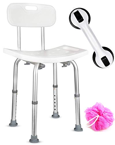 Dr. Maya Bath and Shower Chair Seat with Back (Adjustable) - Anti-Slip Bench Bathtub Stool for Elderly or Seniors (Bathroom Safety) - with Free Suction Assist Grab Bar
