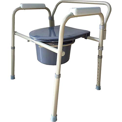 Medokare Foldable Bedside Commode Chair - Heavy-Duty Steel Commode Seat, Bedside Potty Chair for Adults, Medical Handicap Toilet Seat with Handles and Bucket