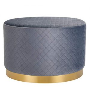 BIRDROCK HOME Round Grey Velvet Ottoman Foot Stool with Lattice Design – Soft Large Padded Stool – Gold Trim - Coffee Table - Great for The Living Room or Bedroom – Decorative Furniture – Foot Rest