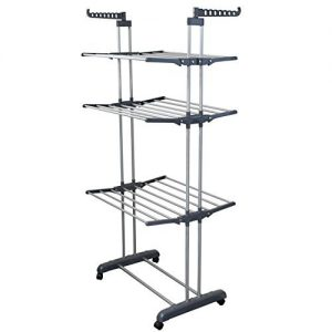BONBON 3 Tier Clothes Drying Rack Folding Laundry Dryer Hanger Compact Storage Steel Indoor Outdoor (Gray/White)