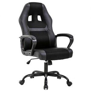 Office Chair PC Gaming Chair Desk Chair Ergonomic PU Leather Executive Computer Chair Lumbar Support for Women, Men(Black)
