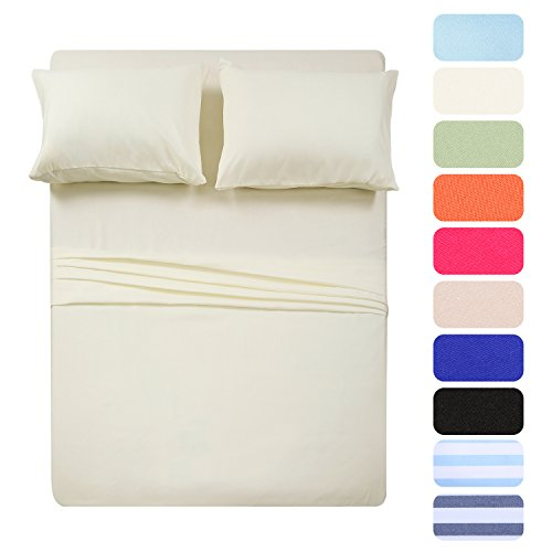 4 Piece Bed Sheet Set (Full,Beige) 1 Flat Sheet,1 Fitted Sheet and 2 Pillow Cases,Brushed Microfiber Luxury Bedding with Deep Pockets
