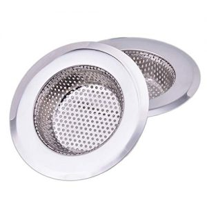 CORNERJOY 4.5 Inch Diameter Rim Heavy Duty Stainless Steel Kitchen Sink Basket Strainer, Large (Pack of 2)