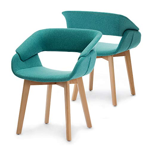 Ivinta Modern Living Dining Room Accent Arm Chairs Set of 2 Linen Fabric Mid-Century Upholstered Side Seat Club Guest with Solid Wood Legs (Light Green)