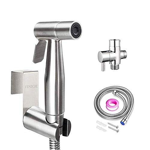 FINIGE Handheld Bidet Sprayer for Toilet Cloth Diaper Sprayer (Two Ways to Mount) Portable Pet Shower Toilet Water Sprayer Seat Bidet Attachment Bathroom Stainless Steel Spray for Personal Hygiene