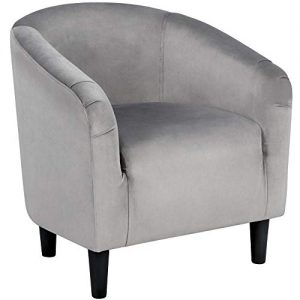 Yaheetech Accent Chair Club Arm Chair Barrel Chair Contemporary Style for Living Room Bedroom Reception Room Gray