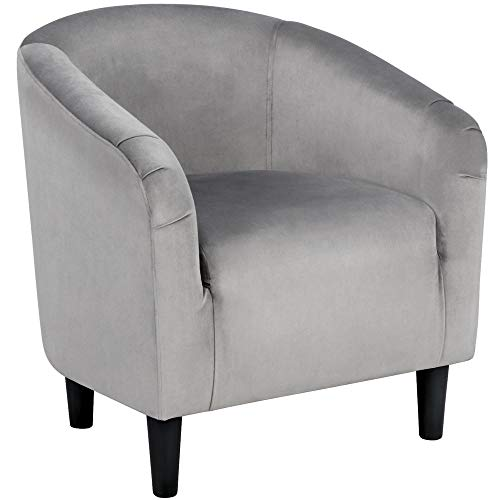 YAHEETECH Velvet Arm Chair Home Modern Club Chair Accent Chair Upholstered Barrel Chair Gray