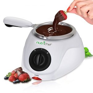 Chocolate Melting Warming Fondue Set - 25W Electric Choco Melt / Warmer Machine Set w/ Keep Warm Dipping function & Removable Pot, Melts Chocolate, Candy, Butter, Cheese- NutriChef PKFNMK14,White