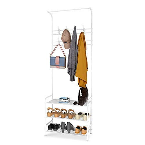 alvorog Entryway Coat Rack Shoe Bench, 3-in-1 Hall Tree, 3-Tier Storage Shelves with 16 Hooks Multifunctional Hallway Organizer, Easy Assembly (White)