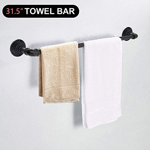 Etzion Pipe Bath Towel Bar, 31.5 Inches Wall Mounted Industrial Pipe Towel Bar Rack for Bathroom Kitchen, Black