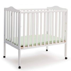 Delta Children Folding Portable Mini Baby Crib with 1.5-inch Mattress, White