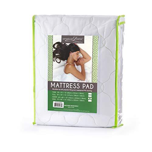 American Linen Quilted Fitted Water Proof Microfiber Mattress Pad - Mattress Topper (Twin, Green Stitching)