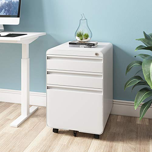 Dprodo 3 Drawers Mobile File Cabinet with Lock, Metal Filing Cabinet for Legal & Letter Size, Fully Assembled Locking File Cabinet for Home & Office,White