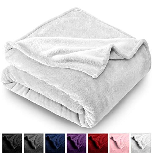 Bare Home Microplush Fleece Blanket - Full/Queen - Ultra-Soft Velvet - Luxurious Fuzzy Fleece Fur - Cozy Lightweight - Easy Care - All Season Premium Bed Blanket (Full/Queen, White)