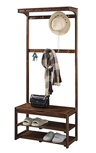 SEIRIONE Bamboo Coat Rack Shoe Bench, 5 in 1 Design, Hall Tree Entryway Shelf, 10 Hooks, 1 Top Shelf,Easy Assembly, Vintage