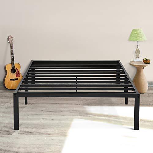 "Sleeplace 14"" Heavy Duty Steel Slat Bed Frame/Non-Slip/Under-Bed Storage/No Box Spring Needed/No Squeaking/Bedroom Basic/Modern, Black"