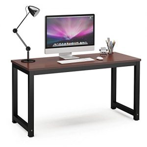 "Tribesigns Computer Desk, 55"" Large Office Desk Computer Table Study Writing Desk for Home Office, Teak + Black Leg"