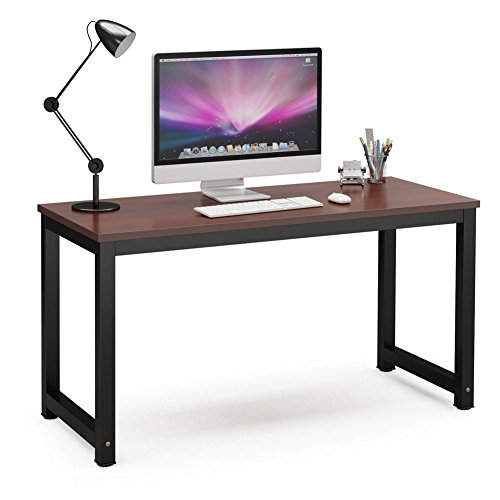 "Tribesigns Computer Desk, 55"" Large Office Desk Computer Table Study Writing Desk for Home Office, Teak + Black Leg"