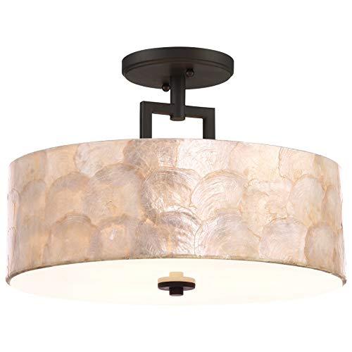 "Kira Home Cove 15"" 3-Light Semi Flush Mount Ceiling Light, Seashell Shade + Glass Diffuser, Oil Rubbed Bronze Finish"