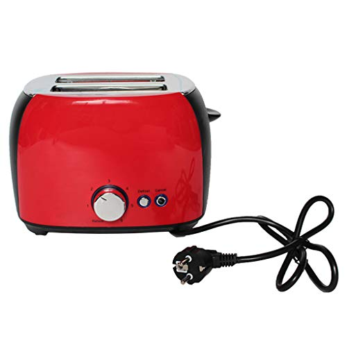 jackyee 2 Slice Toaste Stainless Steel Toasters with Removable Crumb Tray for Bagels Red