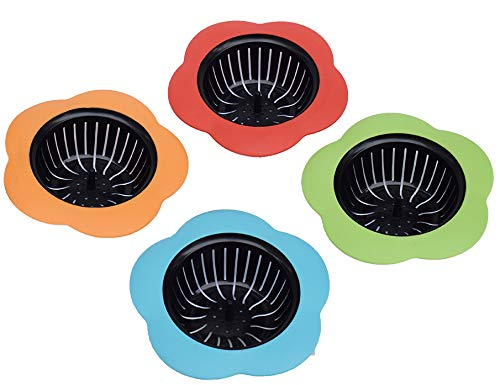 """Silicone Kitchen Sink Strainer 4 Pack, Pouring strainers,Drain FilterLarge Wide Rim 4.5"""" Diameter (4.5"""" Diameter, 4 Color)"""