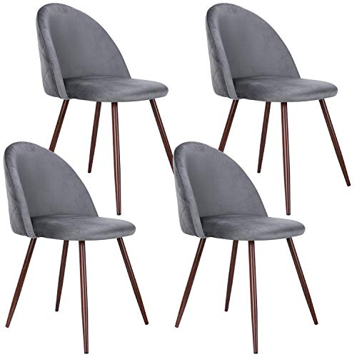 HOMECHO Accent Dining Chairs Set, Velvet Kitchen Side Chairs with Sturdy Metal Legs, Upholstered Modern Chairs with Thick Padded Seat for Dining Room/Living Room, Set of 4, Grey