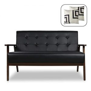 "Mid-Century Modern Solid Loveseat Sofa Upholstered Faux Leather Couch 2-Seat Wood Armchair Living Room/Outdoor Lounge Chair,50""W"