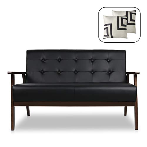"""Mid-Century Modern Solid Loveseat Sofa Upholstered Faux Leather Couch 2-Seat Wood Armchair Living Room/Outdoor Lounge Chair,50""""W"""