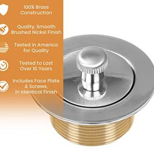 100% Brass Lift and Turn Bathtub Drain - Brushed Nickel Finish - Drain Assembly Conversion Kit - Handyman Designed - Fits All Bathtub Sizes - Quality Tested in America - Vance Home Improvement