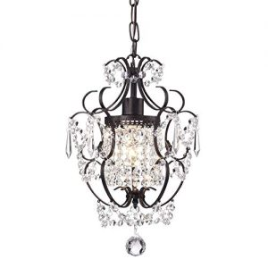 Edvivi Amorette 1-Light Antique Bronze Finish Mini Pendant Chandelier Wrought Iron Ceiling Fixture | Glam Lighting