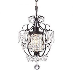 Edvivi Amorette 1-Light Antique Bronze Finish Mini Pendant Chandelier Wrought Iron Ceiling Fixture   Glam Lighting