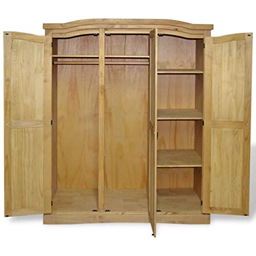 "vidaXL Wardrobe,3 Doors,Closet Wardrobe in Closet Armoire Wardrobe Closet vidaXL Wardrobe,3 Doors,Closet Wardrobe in Closet Armoire Wardrobe Closet Bedroom Armoire Room Closet with Doors Storage Organizer ,59.7"" x 20.5"" x 66.9"" (L x W x H) Mexican Pine Corona."