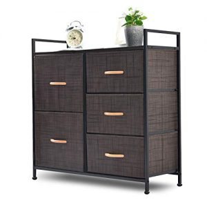 NSdirect Dresser Organizer with 5 Drawers - Wide Fabric Dresser Tower Storage for Bedroom, Closets, Hallway, Entryway, Storage Dresser with Sturdy Steel Frame&Wood Top&Wood Handles