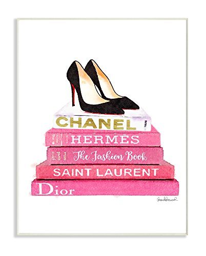 Stupell Industries Glam Pink Fashion Books Black Pump Hells Wall Plaque Art, Proudly Made in USA