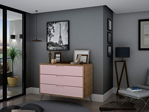 Manhattan Comfort Rockefeller Mid-Century Modern 3 Drawer Bedroom Dresser Bundle Dimensions: 35.2 x 17.5 x 28.9 inches