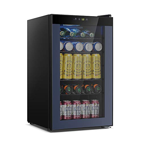 Kismile 85 Can Beverage Refrigerator Cooler,2.3 Cu.ft Mini Fridge with LCD Temperature Control for Soda,Beer or Wine,Drink Cooler Dispenser Counter top Refrigerator for Home,Office or Bar (Gray)