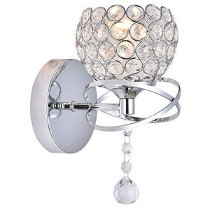 KRASTY Modern Luxury Globe Metal Chrome Silver Finished Crystal Wall Sconce,Bedside Wall Lamp Lighting Fixture for Living Room Bedroom Bathroom