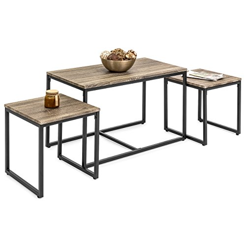 Best Choice Products 3-Piece Modern Nesting Coffee Accent Table Living Room Furniture Lounge Set w/ 2 End Tables - Brown